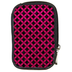 Circles3 Black Marble & Pink Leather (r) Compact Camera Cases by trendistuff