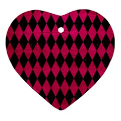 Diamond1 Black Marble & Pink Leather Ornament (heart) by trendistuff