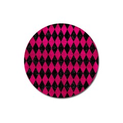 Diamond1 Black Marble & Pink Leather Magnet 3  (round) by trendistuff