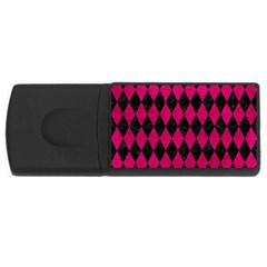 Diamond1 Black Marble & Pink Leather Rectangular Usb Flash Drive by trendistuff