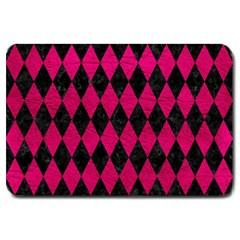 Diamond1 Black Marble & Pink Leather Large Doormat  by trendistuff