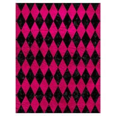 Diamond1 Black Marble & Pink Leather Drawstring Bag (large) by trendistuff