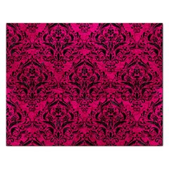 Damask1 Black Marble & Pink Leather Rectangular Jigsaw Puzzl by trendistuff