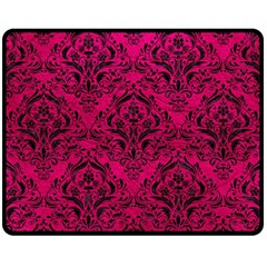 Damask1 Black Marble & Pink Leather Fleece Blanket (medium)  by trendistuff