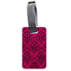 Damask1 Black Marble & Pink Leather Luggage Tags (one Side)  by trendistuff