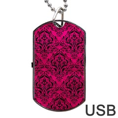 Damask1 Black Marble & Pink Leather Dog Tag Usb Flash (two Sides) by trendistuff