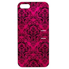 Damask1 Black Marble & Pink Leather Apple Iphone 5 Hardshell Case With Stand by trendistuff