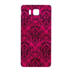 Damask1 Black Marble & Pink Leather Samsung Galaxy Alpha Hardshell Back Case by trendistuff