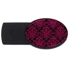 Damask1 Black Marble & Pink Leather (r) Usb Flash Drive Oval (2 Gb) by trendistuff