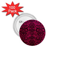 Damask2 Black Marble & Pink Leather 1 75  Buttons (100 Pack)  by trendistuff