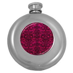 Damask2 Black Marble & Pink Leather Round Hip Flask (5 Oz) by trendistuff