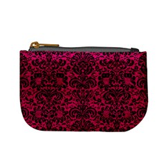 Damask2 Black Marble & Pink Leather Mini Coin Purses by trendistuff