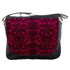 Damask2 Black Marble & Pink Leather Messenger Bags by trendistuff