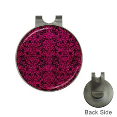 Damask2 Black Marble & Pink Leather (r) Hat Clips With Golf Markers by trendistuff