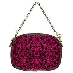 Damask2 Black Marble & Pink Leather (r) Chain Purses (two Sides)  by trendistuff