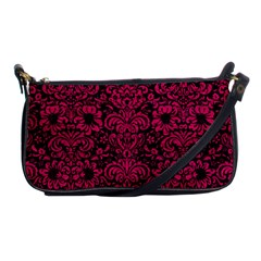 Damask2 Black Marble & Pink Leather (r) Shoulder Clutch Bags by trendistuff