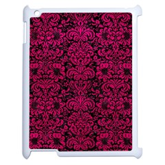 Damask2 Black Marble & Pink Leather (r) Apple Ipad 2 Case (white) by trendistuff