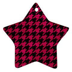 Houndstooth1 Black Marble & Pink Leather Ornament (star) by trendistuff