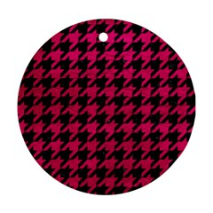 Houndstooth1 Black Marble & Pink Leather Round Ornament (two Sides) by trendistuff