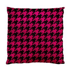 Houndstooth1 Black Marble & Pink Leather Standard Cushion Case (two Sides) by trendistuff