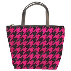 Houndstooth1 Black Marble & Pink Leather Bucket Bags by trendistuff