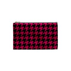 Houndstooth1 Black Marble & Pink Leather Cosmetic Bag (small)  by trendistuff
