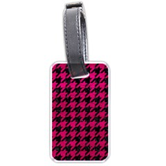 Houndstooth1 Black Marble & Pink Leather Luggage Tags (two Sides) by trendistuff
