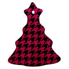 Houndstooth1 Black Marble & Pink Leather Christmas Tree Ornament (two Sides) by trendistuff