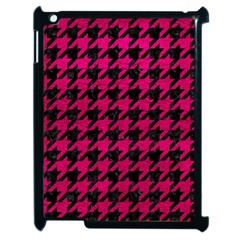 Houndstooth1 Black Marble & Pink Leather Apple Ipad 2 Case (black) by trendistuff