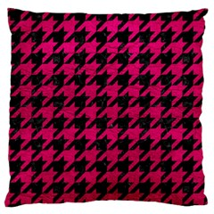 Houndstooth1 Black Marble & Pink Leather Large Cushion Case (two Sides) by trendistuff