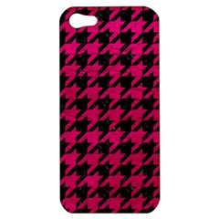Houndstooth1 Black Marble & Pink Leather Apple Iphone 5 Hardshell Case by trendistuff