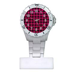 Houndstooth1 Black Marble & Pink Leather Plastic Nurses Watch by trendistuff