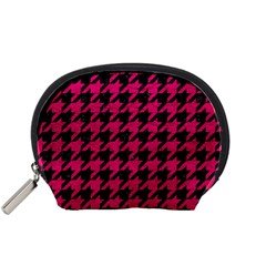 Houndstooth1 Black Marble & Pink Leather Accessory Pouches (small)  by trendistuff