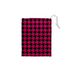 Houndstooth1 Black Marble & Pink Leather Drawstring Pouches (xs)  by trendistuff
