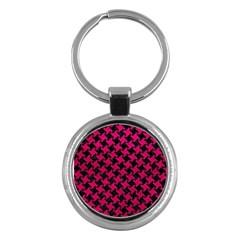 Houndstooth2 Black Marble & Pink Leather Key Chains (round)  by trendistuff