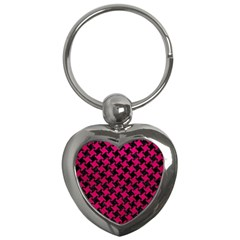 Houndstooth2 Black Marble & Pink Leather Key Chains (heart)  by trendistuff
