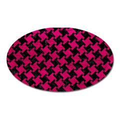 Houndstooth2 Black Marble & Pink Leather Oval Magnet by trendistuff
