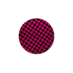 Houndstooth2 Black Marble & Pink Leather Golf Ball Marker (4 Pack) by trendistuff