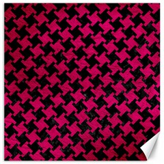 Houndstooth2 Black Marble & Pink Leather Canvas 12  X 12   by trendistuff