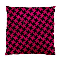 Houndstooth2 Black Marble & Pink Leather Standard Cushion Case (one Side) by trendistuff