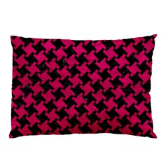Houndstooth2 Black Marble & Pink Leather Pillow Case (two Sides) by trendistuff