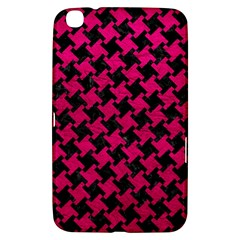 Houndstooth2 Black Marble & Pink Leather Samsung Galaxy Tab 3 (8 ) T3100 Hardshell Case  by trendistuff