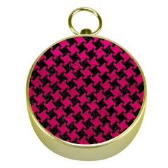 Houndstooth2 Black Marble & Pink Leather Gold Compasses by trendistuff