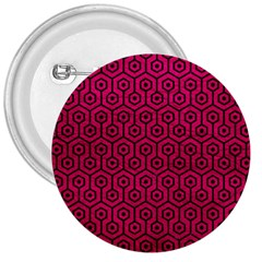 Hexagon1 Black Marble & Pink Leather 3  Buttons by trendistuff