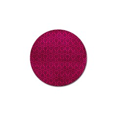 Hexagon1 Black Marble & Pink Leather Golf Ball Marker (10 Pack) by trendistuff