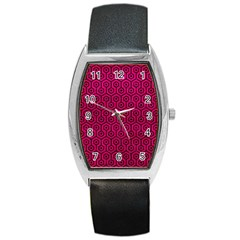Hexagon1 Black Marble & Pink Leather Barrel Style Metal Watch by trendistuff