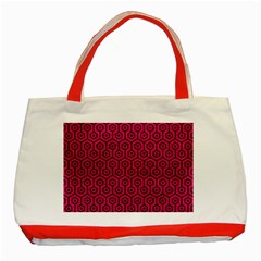 Hexagon1 Black Marble & Pink Leather Classic Tote Bag (red) by trendistuff