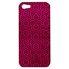 Hexagon1 Black Marble & Pink Leather Apple Iphone 5 Hardshell Case by trendistuff