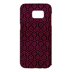 Hexagon1 Black Marble & Pink Leather (r) Samsung Galaxy S7 Edge Hardshell Case by trendistuff