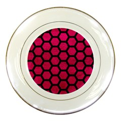 Hexagon2 Black Marble & Pink Leather Porcelain Plates by trendistuff